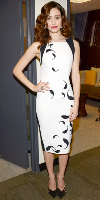 Emmy Rossum in a Andrew G dress